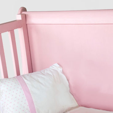 French sleigh cot pink close up