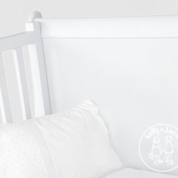 French sleigh cot white close up
