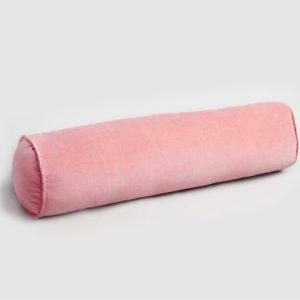 Velvet bolster cushion blush