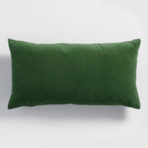 Velvet lumbar cushion emerald