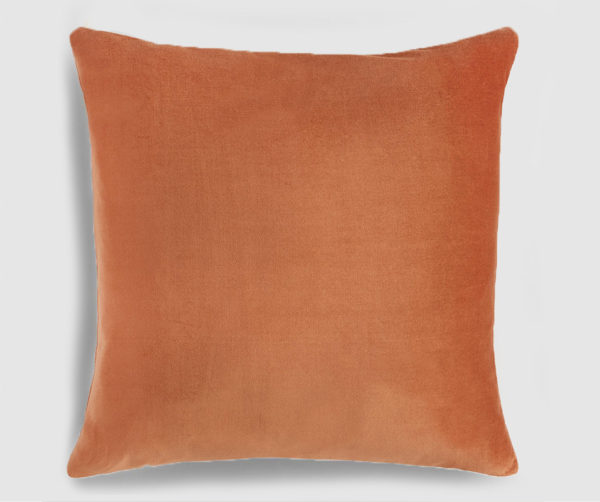Velvet throw pillow copper