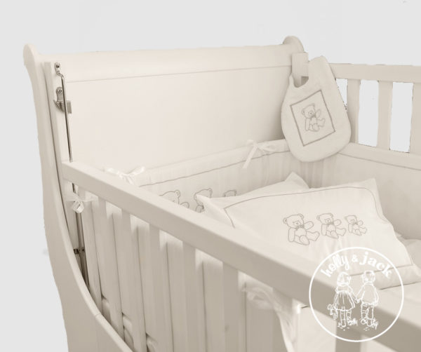 French sleigh cot antique white close up